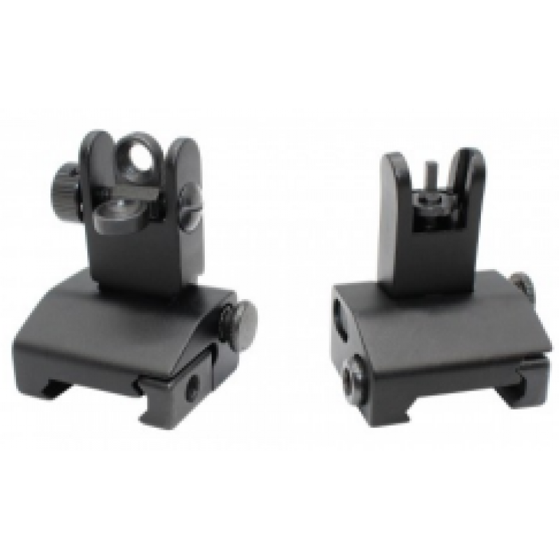 F.A.S.T Tactical Rifle Sights Front And Rear Sight Set Folding Black
