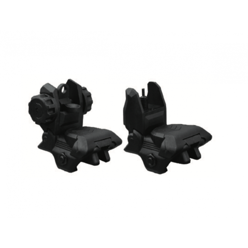 AIMID Tactical AR 15 Sights Front And Rear Sight Set Smart Folding Black Flip Up Polymer Sights A2 Post Back Up Sight Mount
